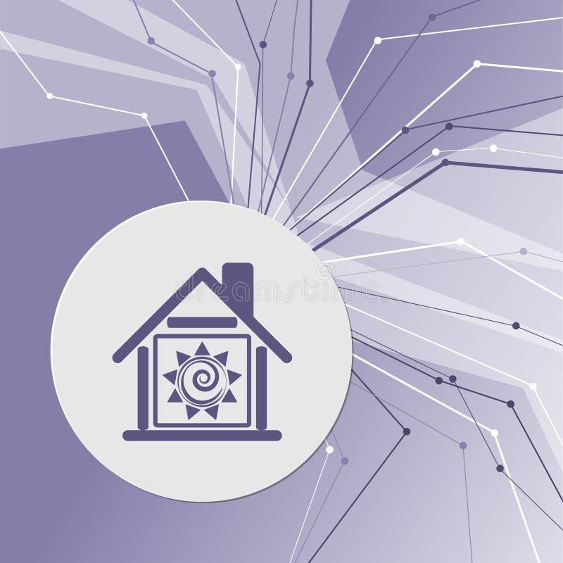 Icono casero caliente en fondo moderno abstracto púrpura Las líneas en todas las direcciones Con el sitio para su publicidad stock de ilustración