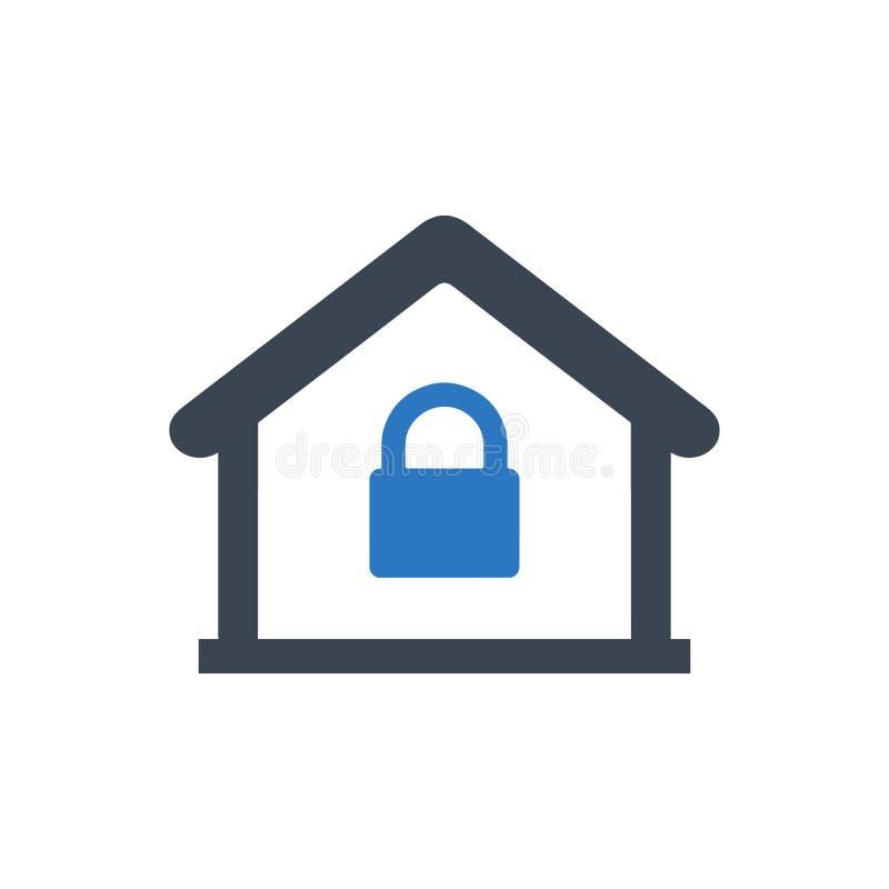 Icono casero de la cerradura stock de ilustración