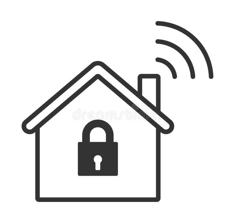 Icono casero de la cerradura del wifi Hogar elegante ilustración del vector