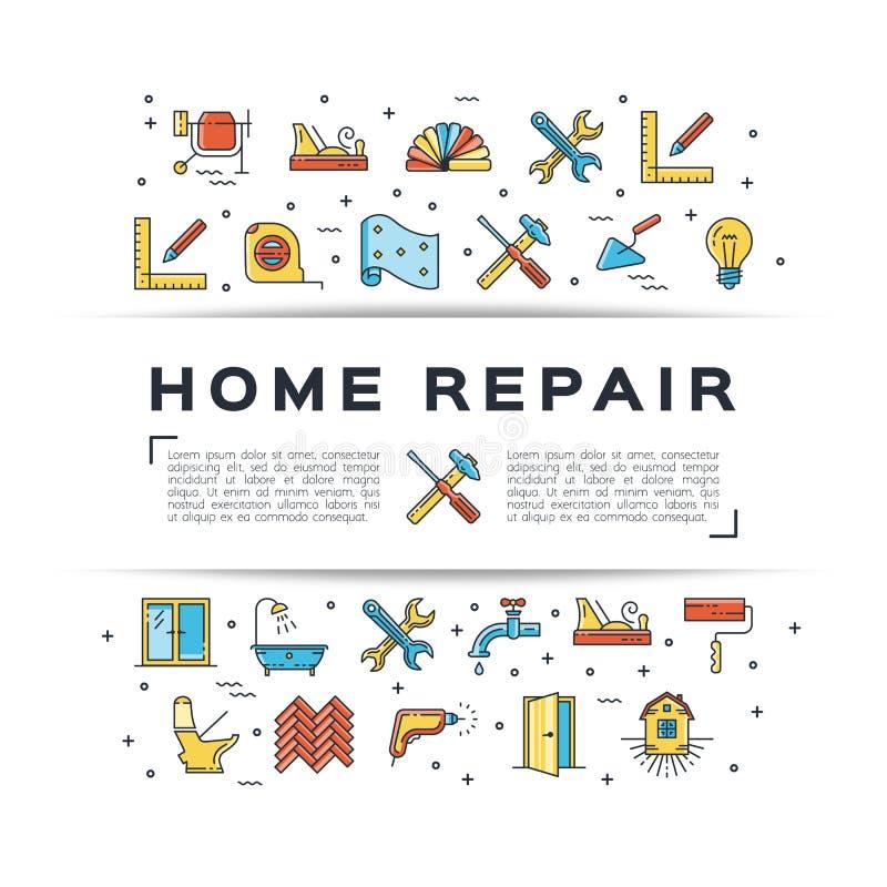 Icono casero de la construcción del aviador de la reparación La casa remodela la línea fina iconos del arte Ejemplo plano del vec stock de ilustración