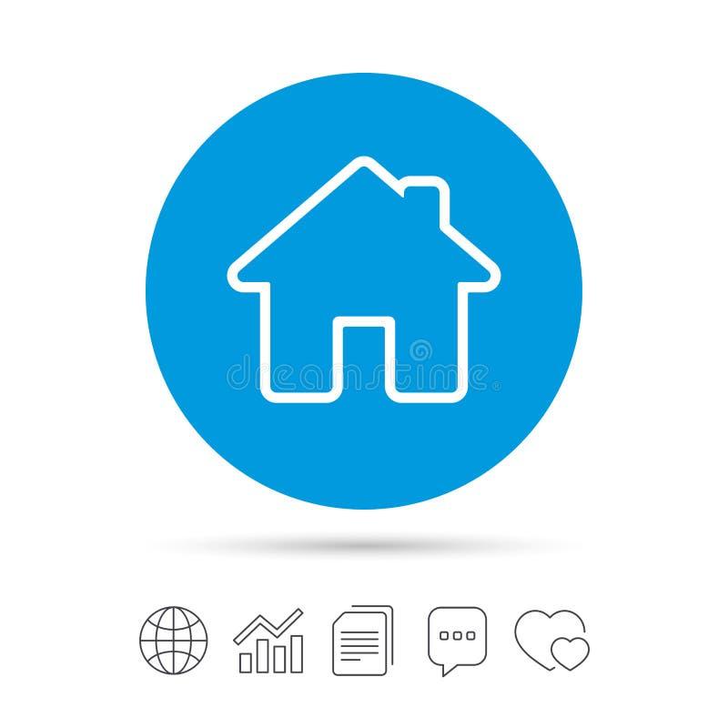 Icono casero de la muestra Botón de la página principal nearsighted ilustración del vector