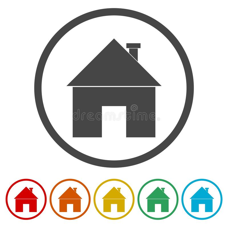 Icono casero de la muestra Botón de la página principal Símbolo de la navegación stock de ilustración