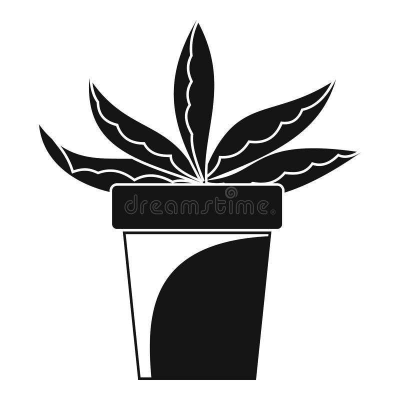 Icono casero del pote del cactus, estilo simple libre illustration