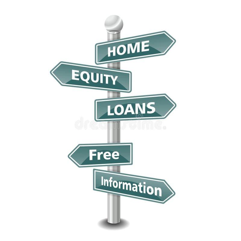 Icono casero del préstamo en forma de participación en el capital como poste indicador - NUEVA TENDENCIA SUPERIOR stock de ilustración