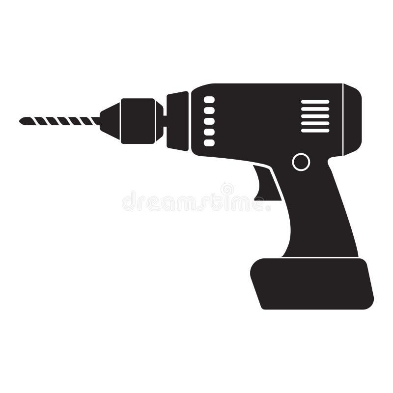 Icono casero del taladro el?ctrico Ejemplo simple del icono casero del vector del taladro el?ctrico para el dise?o web aislado en stock de ilustración