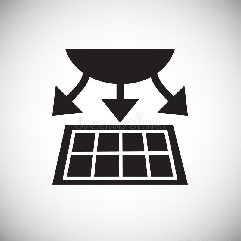 Icono casero elegante de la carga del panel del sol en el fondo blanco para el gráfico y el diseño web, muestra simple moderna de ilustración del vector
