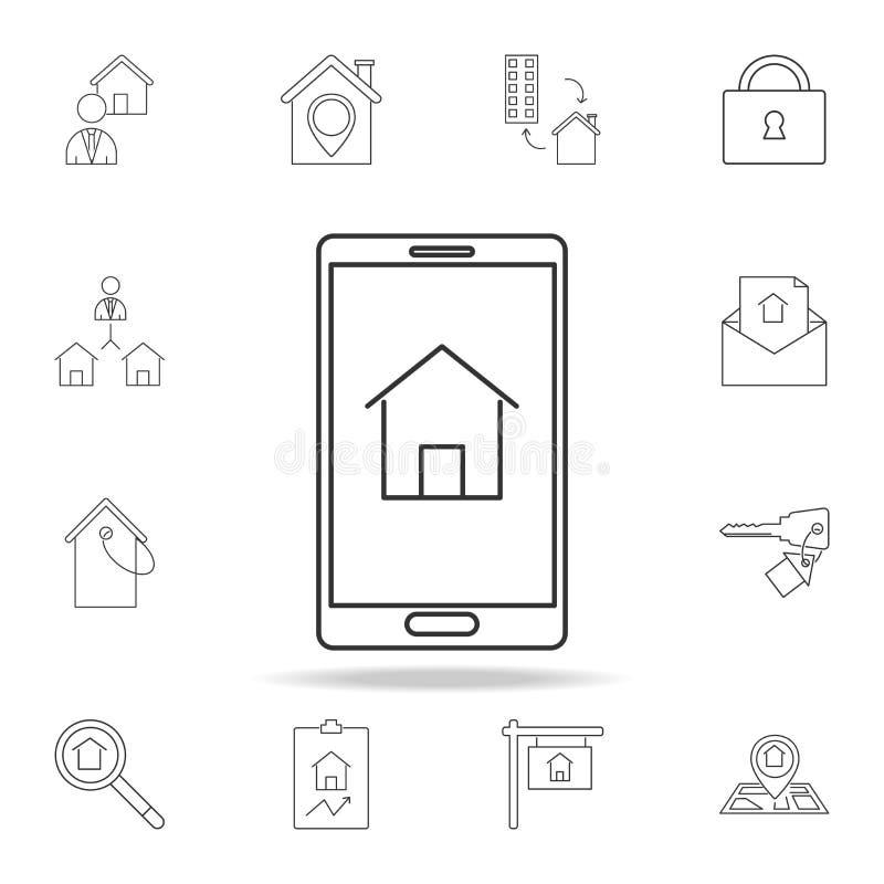 icono casero elegante del diseño Sistema de iconos del elemento de las propiedades inmobiliarias de la venta Diseño gráfico de la libre illustration
