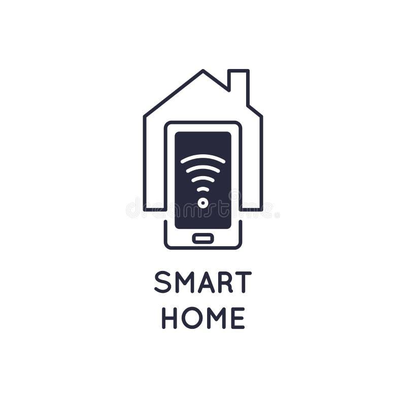 Icono casero elegante Wi-Fi de la muestra del emblema ilustración del vector