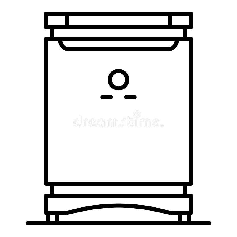 Icono casero moderno del congelador, estilo del esquema ilustración del vector