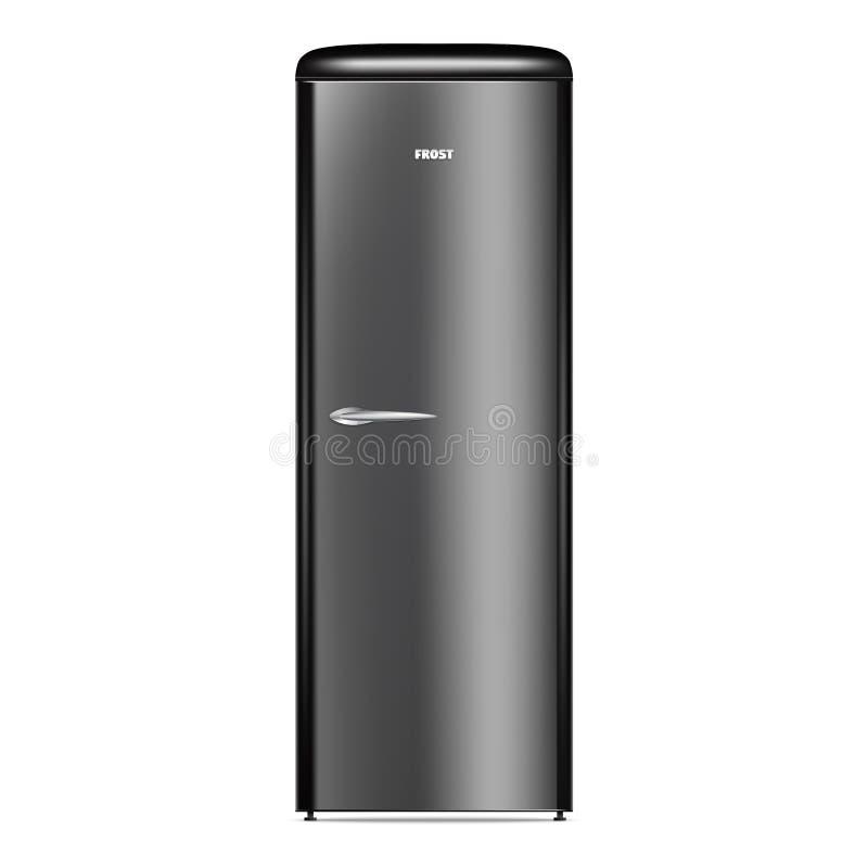 Icono casero negro del refrigerador, estilo realista libre illustration