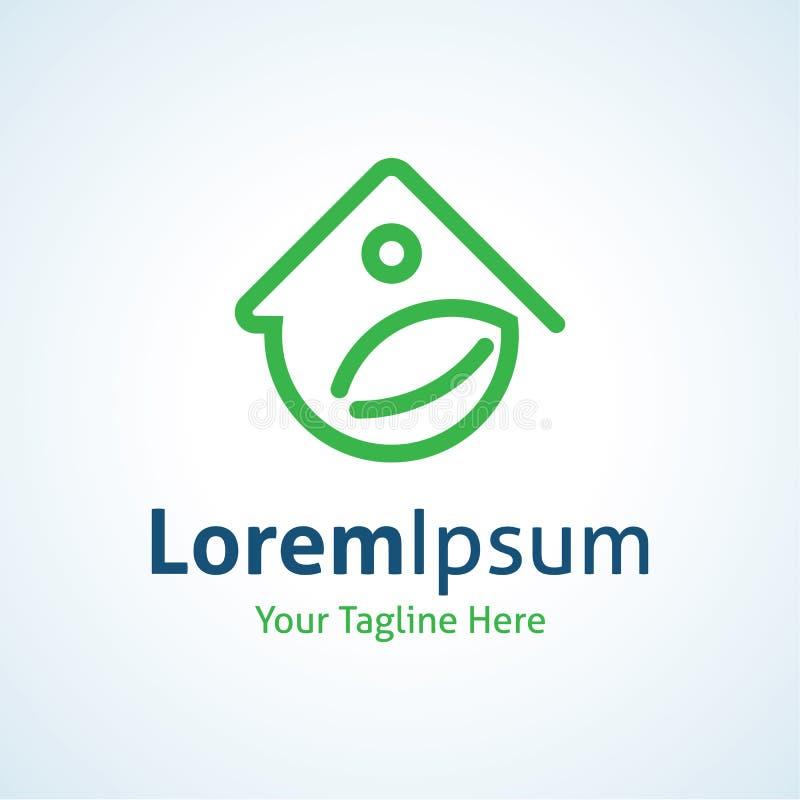 Icono casero verde del logotipo de la protección de la energía libre illustration