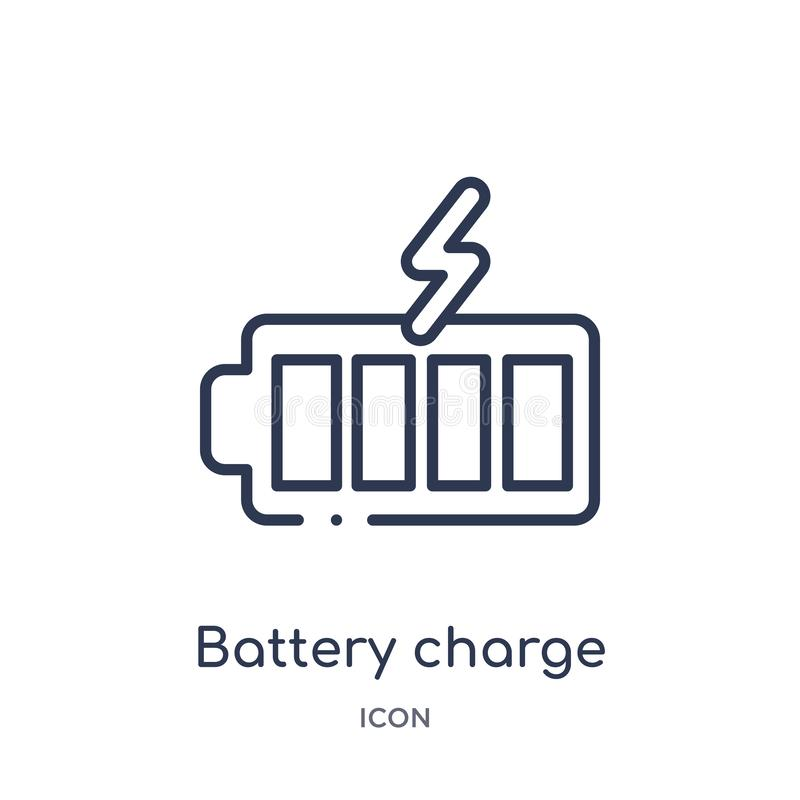 icono casi completo de la carga de la batería de la colección del esquema de la tecnología Línea fina icono casi completo de la c stock de ilustración