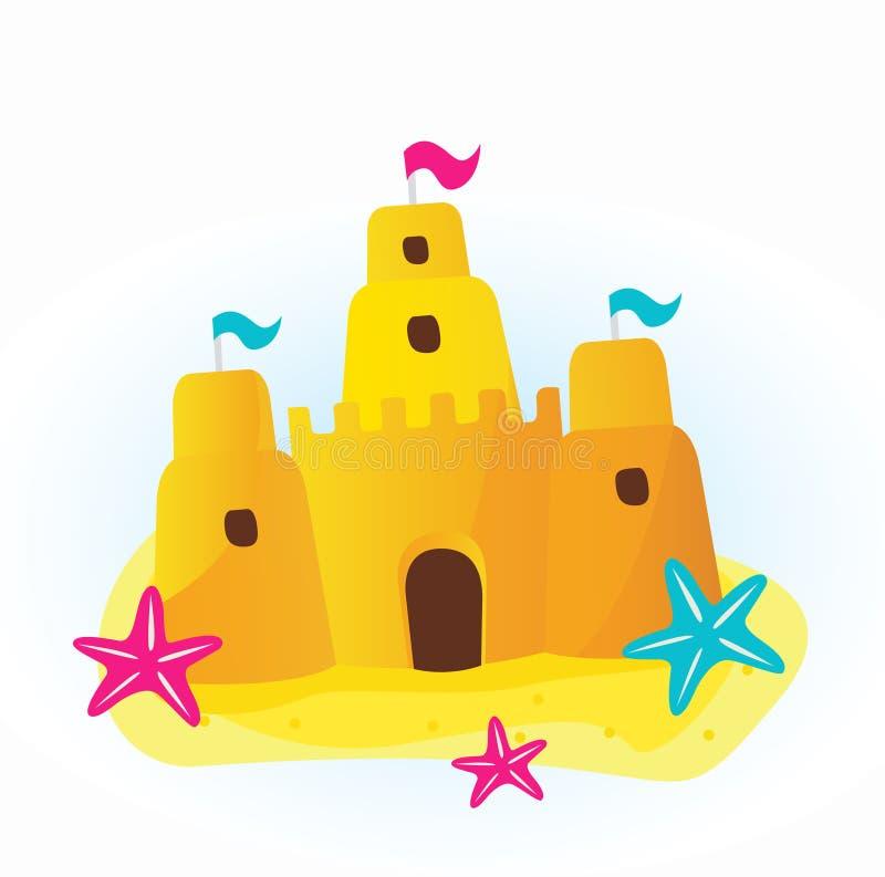 Icono - castillo de arena de la playa ilustración del vector