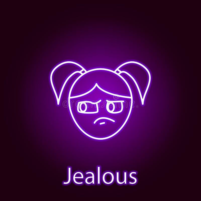 icono celoso de la cara de la muchacha en el estilo de ne?n Elemento de las emociones para el ejemplo m?vil de los apps del conce stock de ilustración