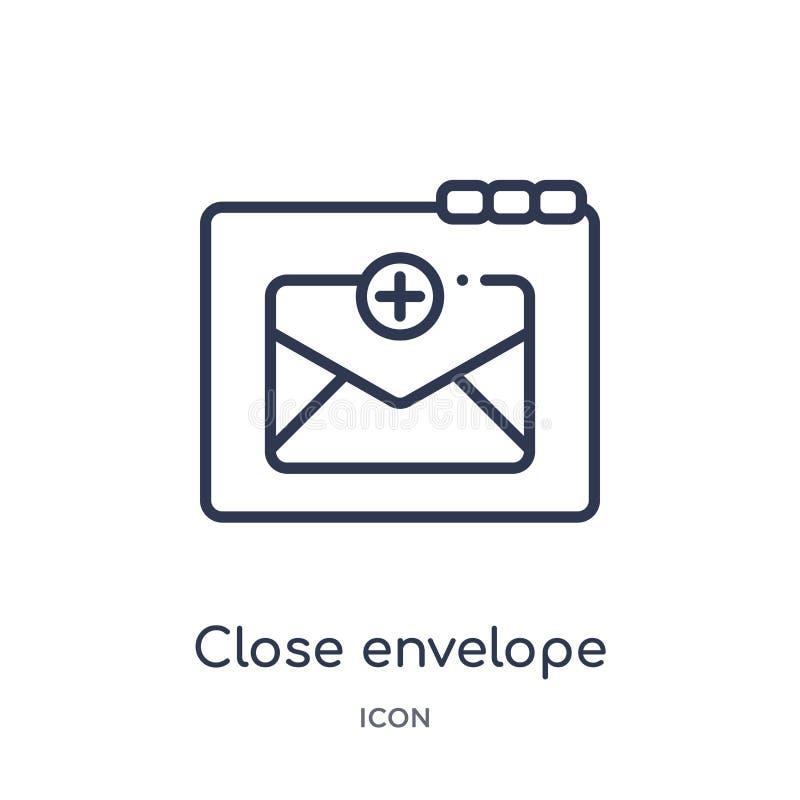 Icono cercano del sobre de la colección del esquema de la web Línea fina icono cercano del sobre aislado en el fondo blanco stock de ilustración
