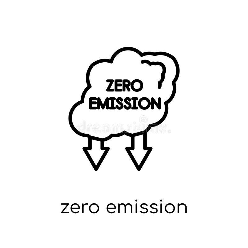 Icono cero de la emisión Emissi cero del vector linear plano moderno de moda stock de ilustración