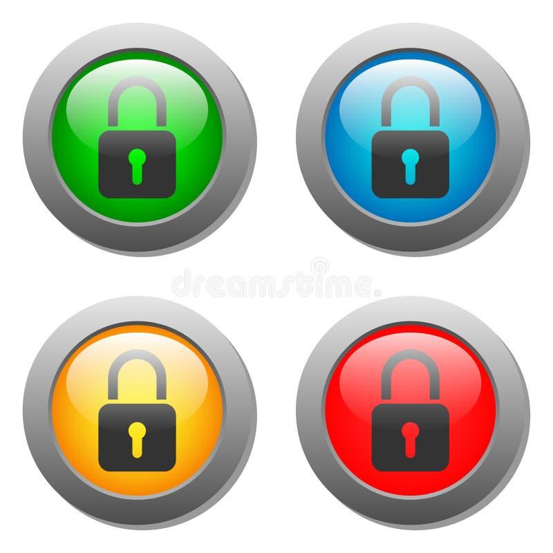 Download Icono Cerrado De La Cerradura En El Sistema De Cristal Del Botón Stock de ilustración - Ilustración de brillante, conexión: 42443876