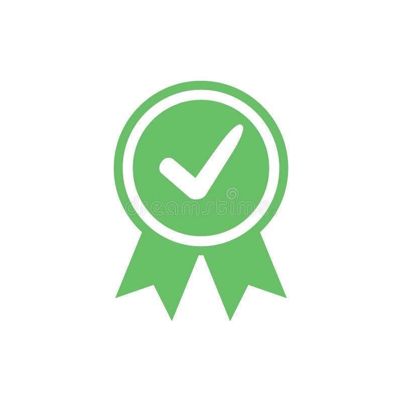 Icono certificado aprobado Icono certificado del sello Símbolo aceptado de la acreditación con la marca de cotejo Garantía o auto stock de ilustración