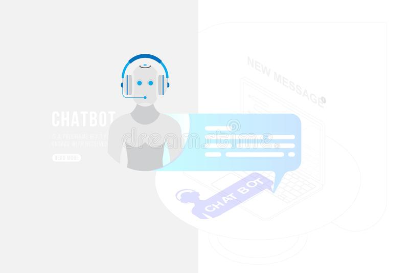 Icono Chatbot con el nuevo mensaje en el fondo de un dibujo de esquema en estilo isométrico y ordenador portátil 3d ejemplo plano ilustración del vector