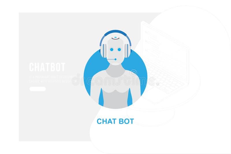 Icono Chatbot con el nuevo mensaje en el fondo de un dibujo de esquema en estilo isométrico y ordenador portátil 3d ejemplo plano stock de ilustración
