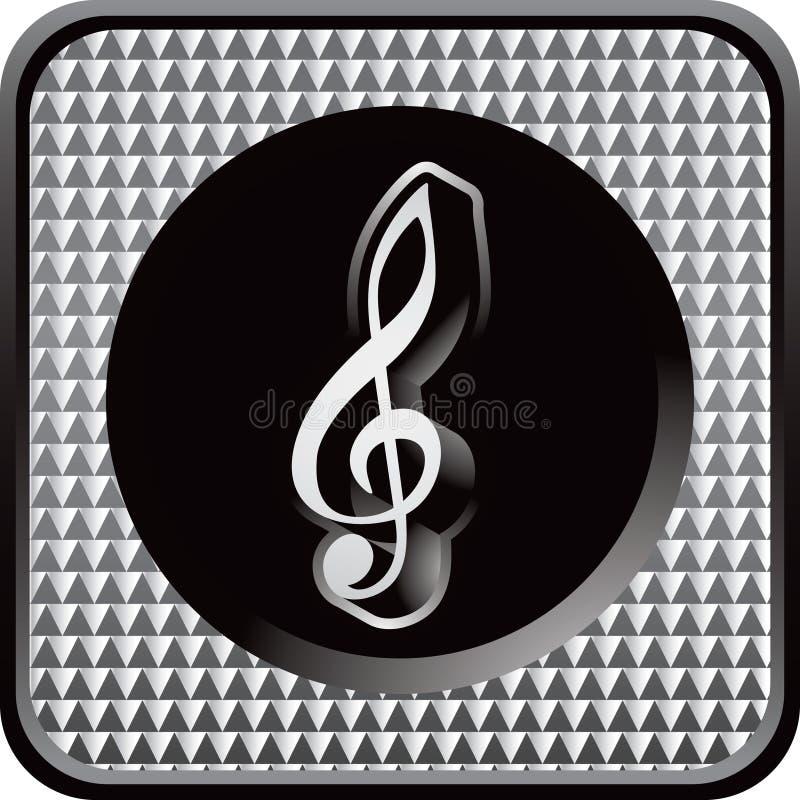 Icono checkered de plata del Web con la nota de la música ilustración del vector