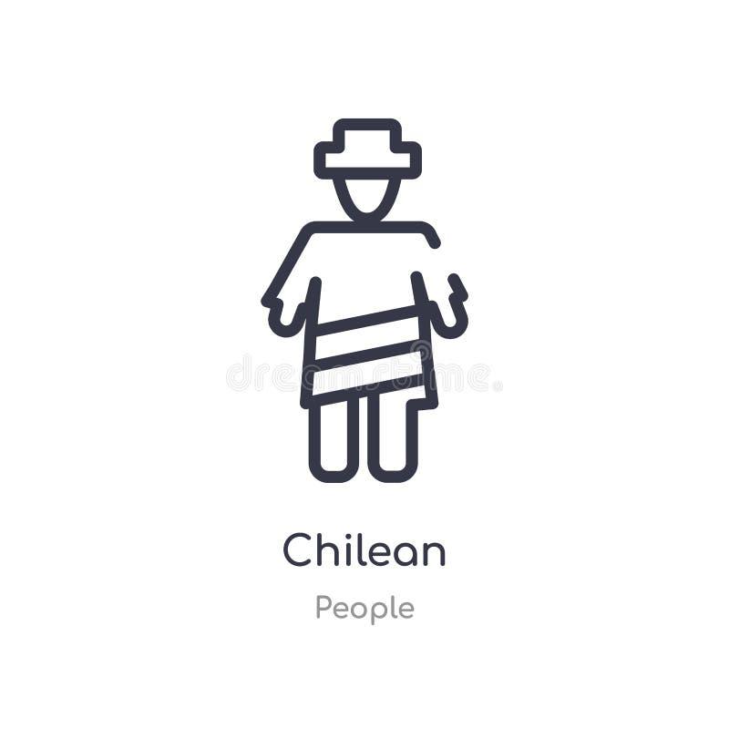 icono chileno del esquema l?nea aislada ejemplo del vector de la colecci?n de la gente icono chileno del movimiento fino editable libre illustration