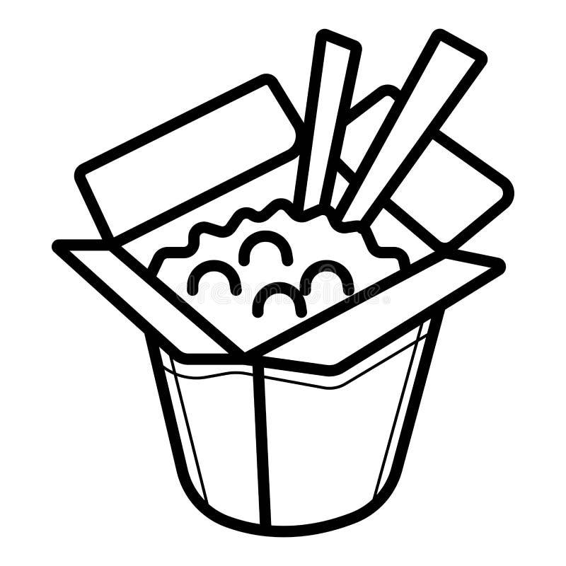 Icono chino de los alimentos de preparación rápida stock de ilustración