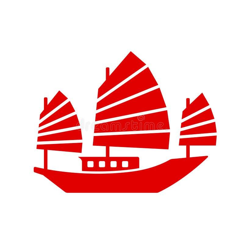 Icono chino del barco de los desperdicios ilustración del vector