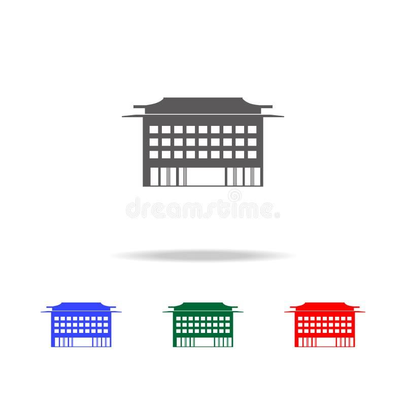 Icono chino del edificio Elementos de los iconos coloreados multi de la cultura china Icono superior del diseño gráfico de la cal stock de ilustración