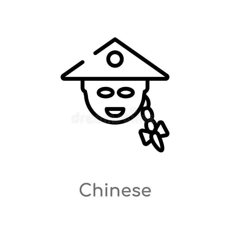 icono chino del vector del esquema l?nea simple negra aislada ejemplo del elemento del concepto asi?tico chino editable del movim libre illustration