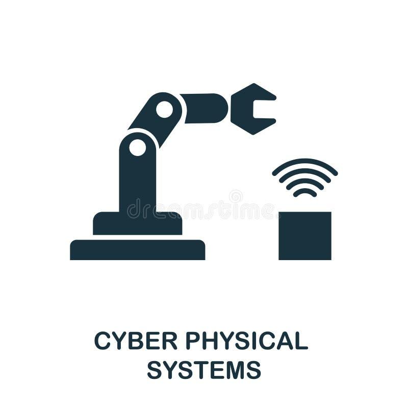 Icono cibernético de los sistemas físicos Diseño monocromático del estilo de la industria 4 0 colecciones del icono UI y UX Compr stock de ilustración
