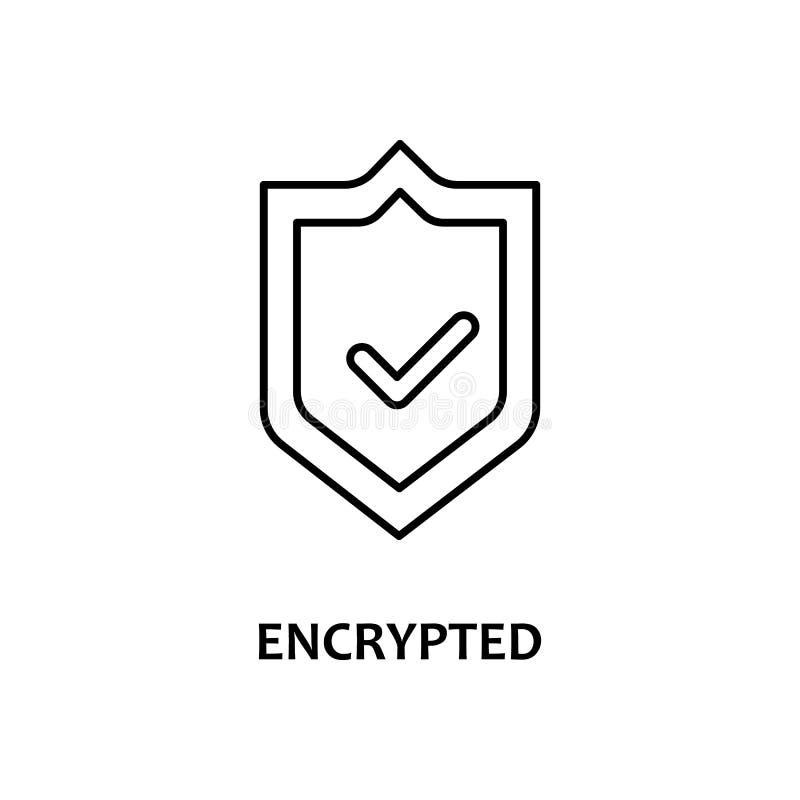 icono cifrado con nombre Elemento de moneda criptográfica para concepto móvil y aplicaciones web Icono de línea delgada cifrado s ilustración del vector