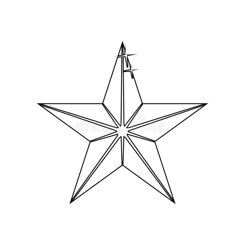 icono Cinco-acentuado de la estrella Elemento de las estrellas para el concepto y el icono m?viles de los apps de la web Esquema, ilustración del vector