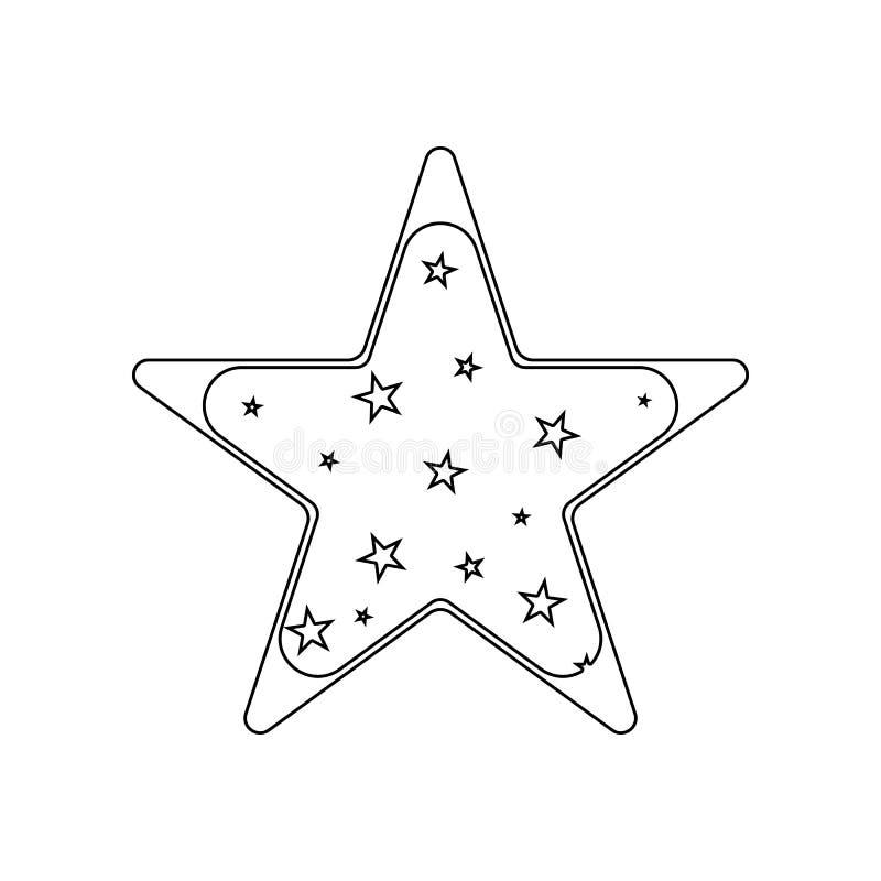 icono Cinco-acentuado de la estrella Elemento de las estrellas para el concepto y el icono m?viles de los apps de la web Esquema, stock de ilustración