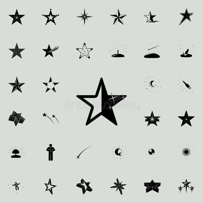 icono Cinco-acentuado de la estrella Sistema universal de los iconos de las estrellas para el web y el móvil stock de ilustración