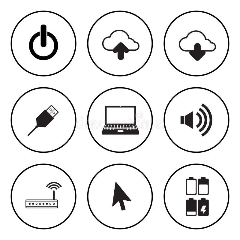Icono circular blanco y negro para el ordenador y el concep de la tecnología libre illustration