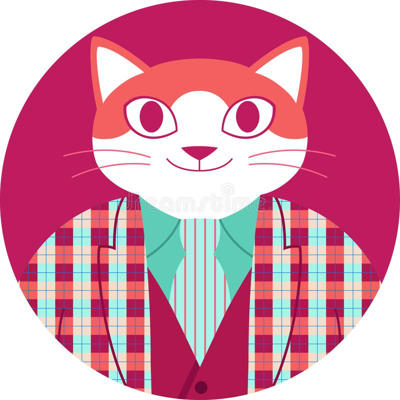 Icono circular con el gato anaranjado feliz en chaqueta del tartán libre illustration
