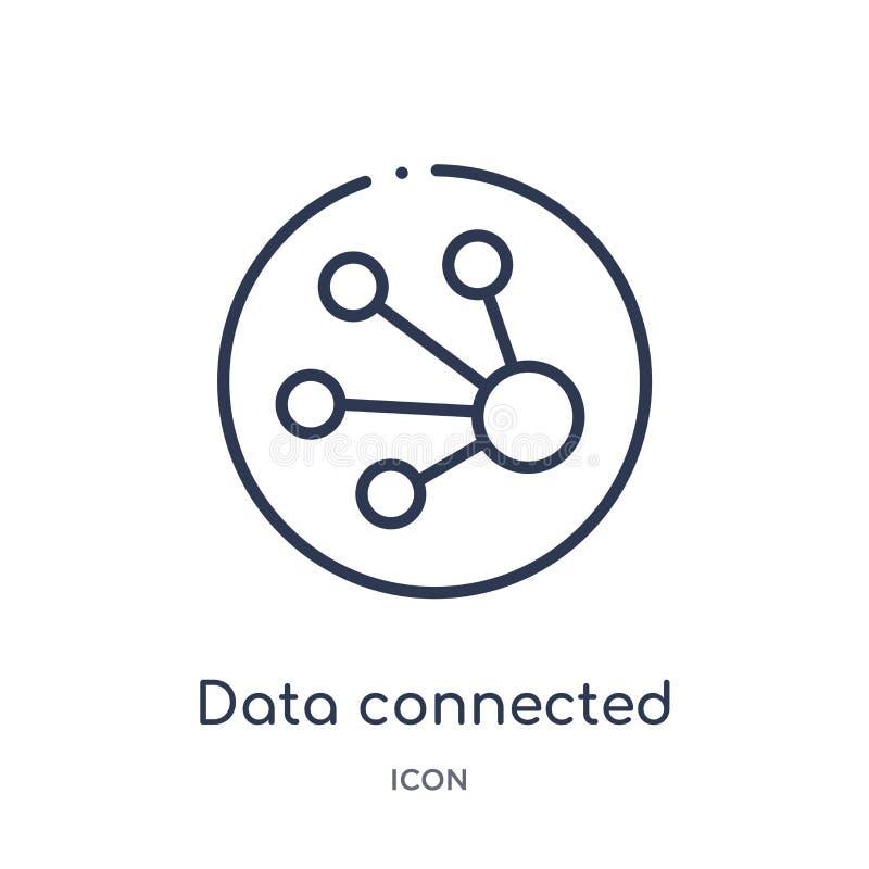 icono circular conectado datos del interfaz de la colección del esquema de la interfaz de usuario La línea fina datos conectó el  stock de ilustración