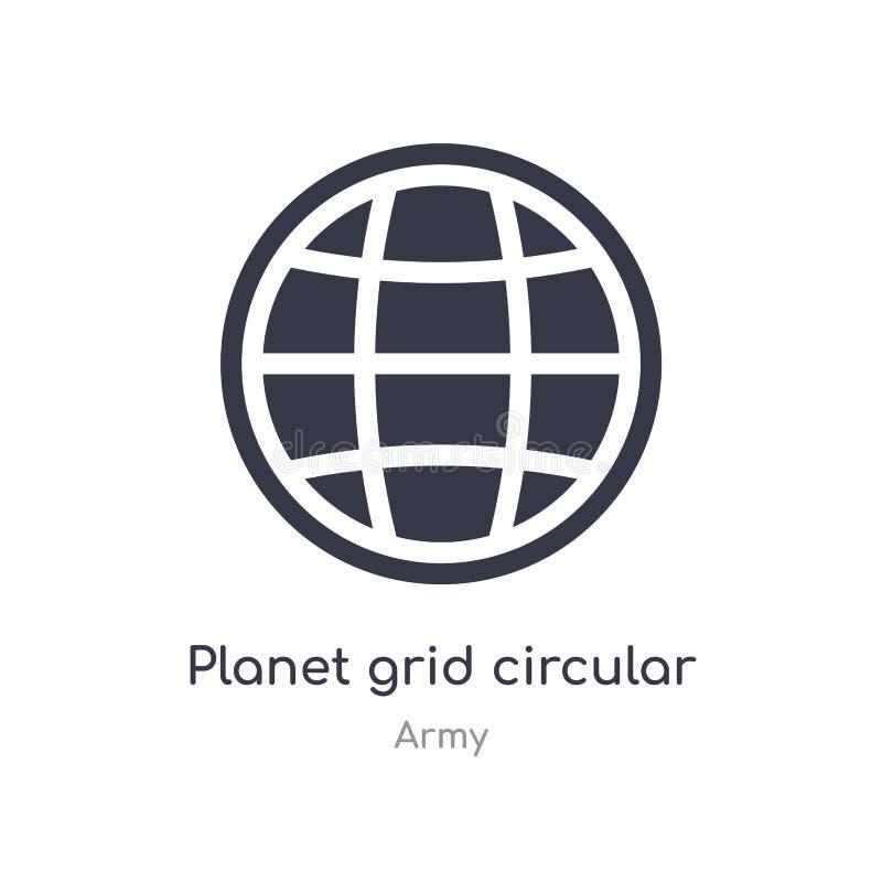 icono circular de la rejilla del planeta ejemplo circular aislado del vector del icono de la rejilla del planeta de la colecci?n  ilustración del vector