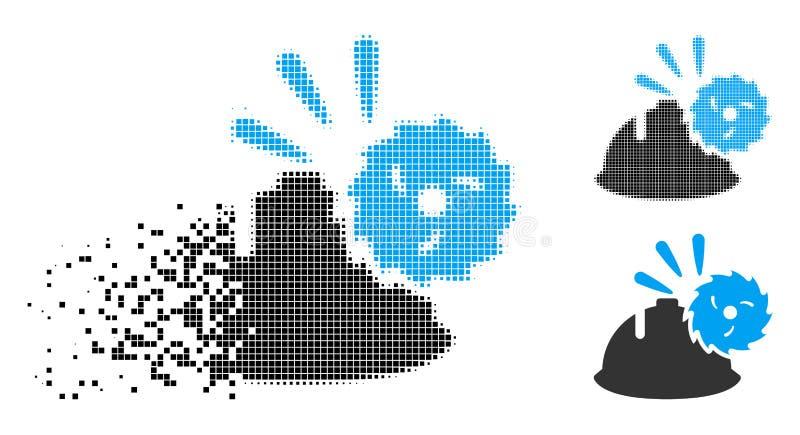 Icono circular de semitono Destructed de la protección de la cabeza de la cuchilla del pixel stock de ilustración