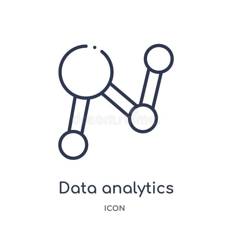 icono circular del analytics de los datos de la colección del esquema de la interfaz de usuario Línea fina icono circular del ana stock de ilustración
