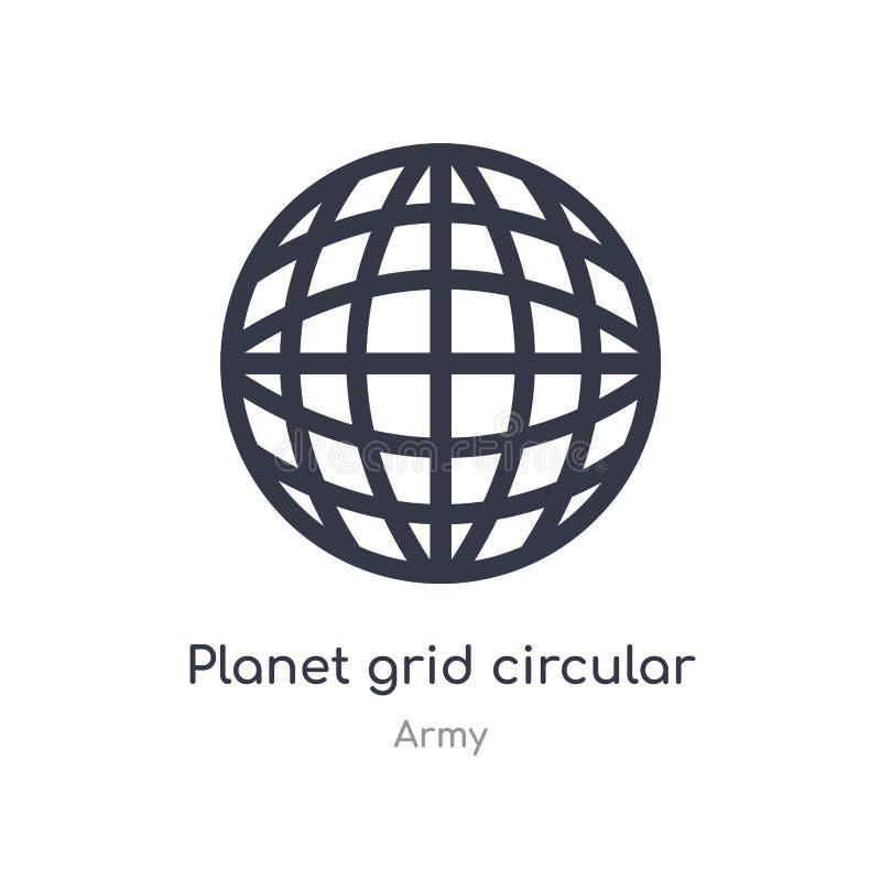 icono circular del esquema de la rejilla del planeta l?nea aislada ejemplo del vector de la colecci?n del ej?rcito rejilla fina e stock de ilustración