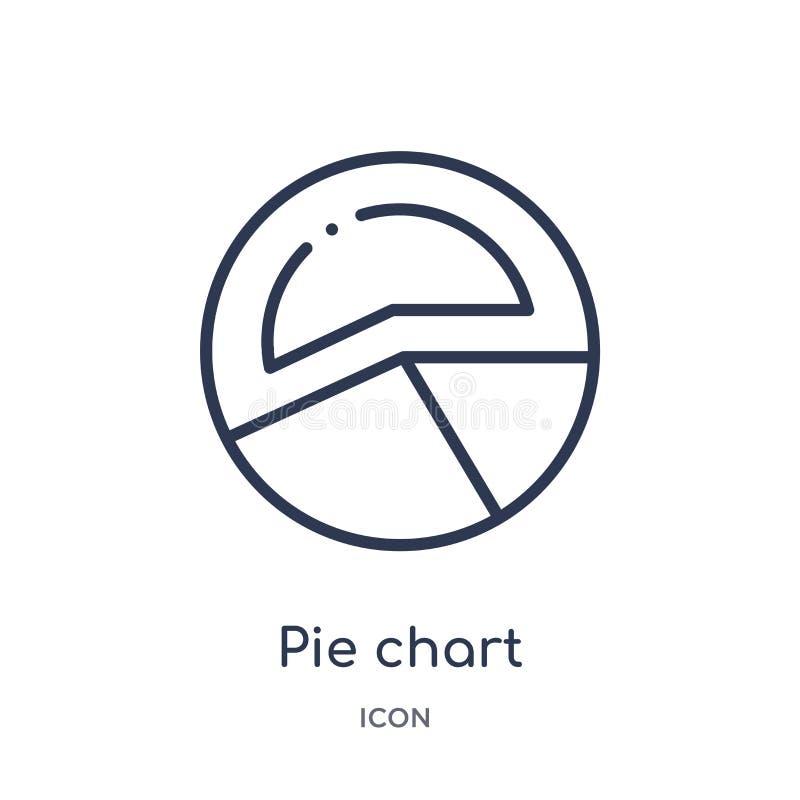 icono circular del interfaz del gráfico de sectores de la colección del esquema de la interfaz de usuario Línea fina icono circul libre illustration