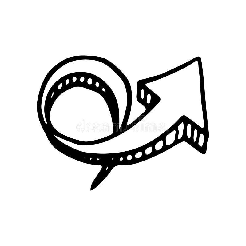 Icono circular dibujado mano del garabato de la flecha 3D Sketc negro dibujado mano ilustración del vector