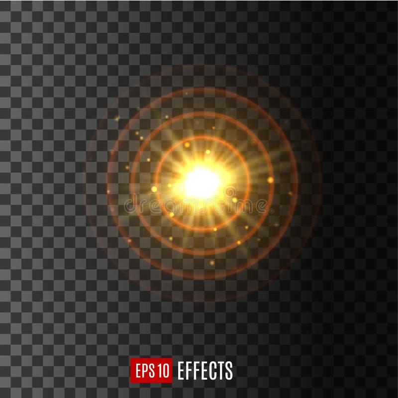 Icono circular ligero del vector del efecto de la llamarada de la lente del brillo stock de ilustración