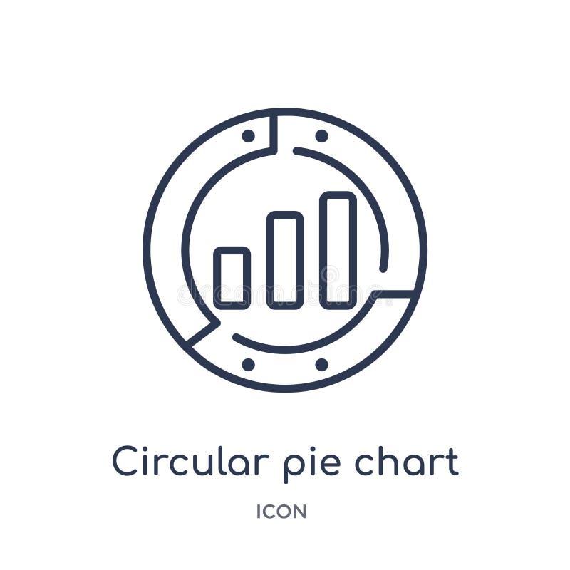 Icono circular linear del gráfico de sectores de la colección del esquema del negocio Línea fina icono circular del gráfico de se libre illustration