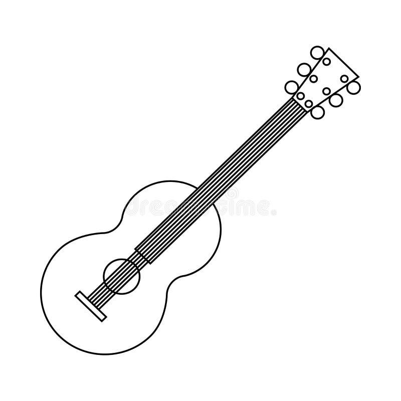 Icono clásico de la guitarra, estilo del esquema stock de ilustración