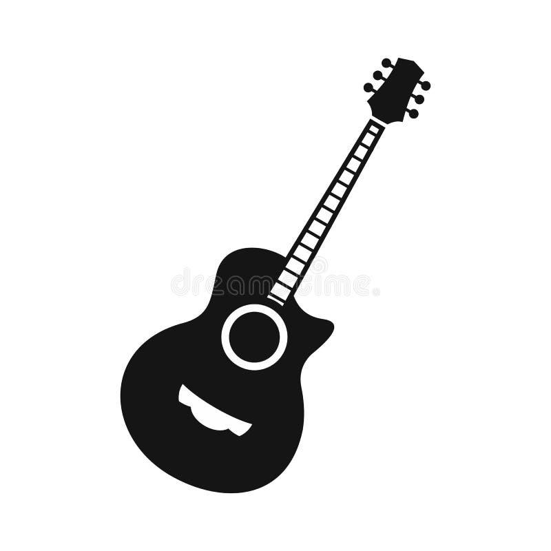 Icono clásico de la guitarra, estilo simple stock de ilustración