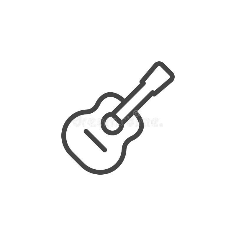 Icono clásico de la guitarra Etiqueta musical del esquema del instrumento de la secuencia La muestra para la música hace compras, libre illustration