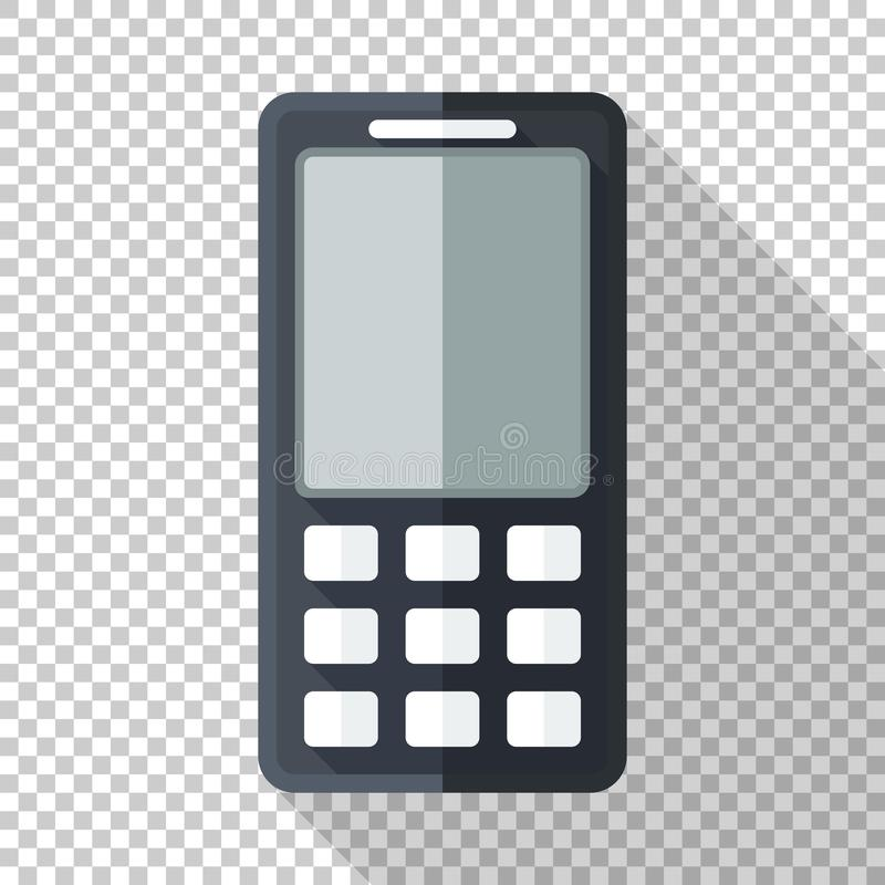 Icono clásico del teléfono móvil en estilo plano con la exhibición monocromática del LCD en fondo transparente libre illustration